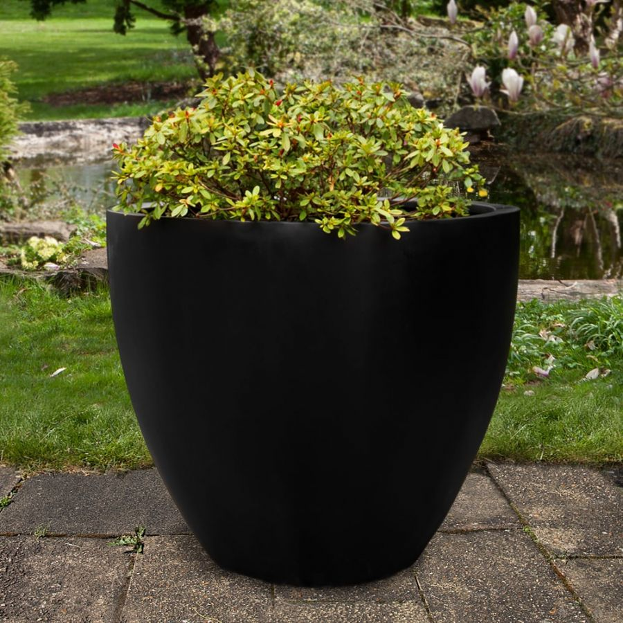 H85cm XL Lotus Polystone Planter in Black