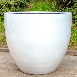 H73cm Jumbo Lotus Stone Composite Planter in White