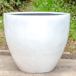 H73cm Large Lotus Stone Composite Planter in White