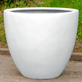 H85cm XL Lotus Stone Composite Planter in White