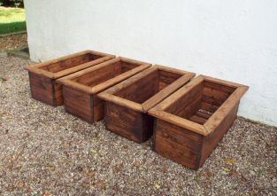 Charles Taylor Wooden Garden Set of 4 82cm x 31.5cm Trough Planters