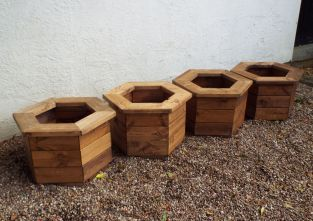 Charles Taylor Wooden Garden Set of 4 56cm x 33.5cm Hexagon Planters