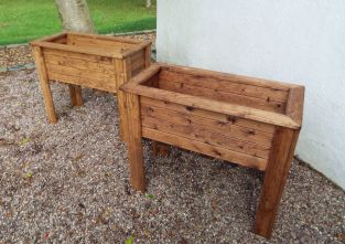 Charles Taylor Wooden Garden Set of 2 82cm x 72cm Raised Wiltshire Troughs