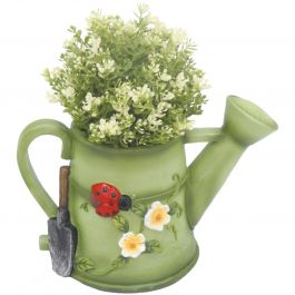 H28.5cm Watering Can Frost Proof Polyresin Planter in Green