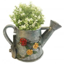 H28.5cm Watering Can Frost Proof Polyresin Planter in Grey
