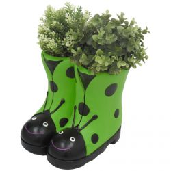 H23.5cm Ladybird Boots Frost Proof Polyresin Planter in Green