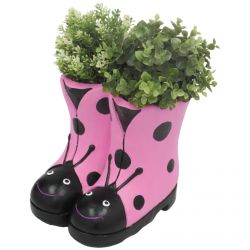 H23.5cm Ladybird Boots Frost Proof Polyresin Planter in Pink