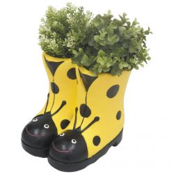 H23.5cm Ladybird Boots Frost Proof Polyresin Planter in Yellow