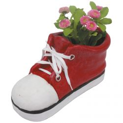 H35.5cm Large Shoe Frost Proof Polyresin Planter in Red