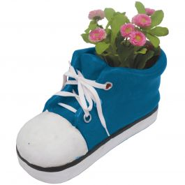 H35.5cm Large Shoe Frost Proof Polyresin Planter in Blue