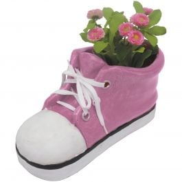 H35.5cm Large Shoe Frost Proof Polyresin Planter in Pink