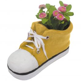 H35.5cm Large Shoe Frost Proof Polyresin Planter in Yellow