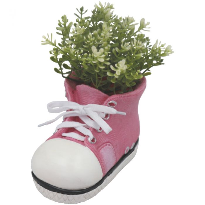 H17.5cm Small Shoe Frost Proof Polyresin Planter in Pink