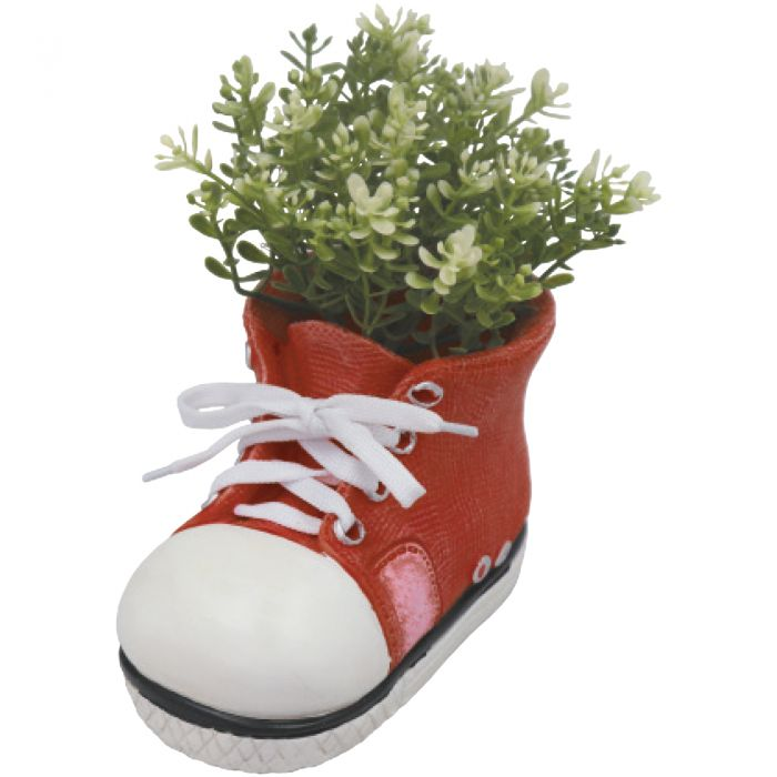 H17.5cm Small Shoe Frost Proof Polyresin Planter in Red
