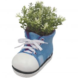 H17.5cm Small Shoe Frost Proof Polyresin Planter in Blue