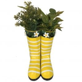 H25cm Hanging Pair of Wellies Metal Planter in Yellow