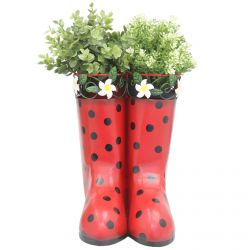H25cm Hanging Pair of Wellies Metal Planter in Red