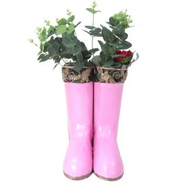 H25cm Hanging Pair of Wellies Metal Planter in Pink