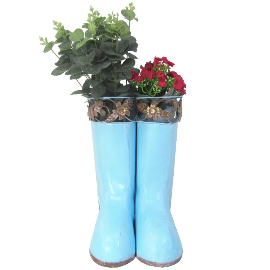 H25cm Hanging Pair of Wellies Metal Planter in Blue