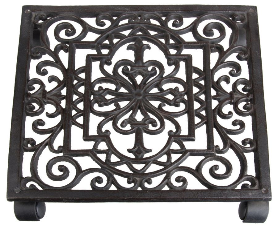 Cast Iron Square Pot Mover/ Trolley - 30cm (11in)