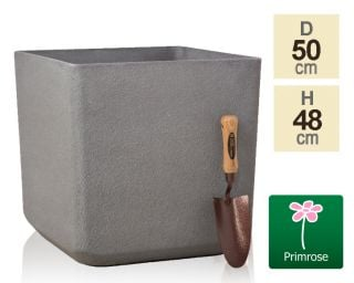 H48cm Volcanic Grey Square Planter - By Primrose™