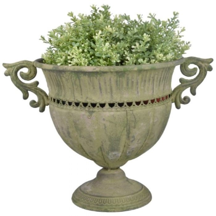 39cm Aged Metal Large Green Urn Round Planter