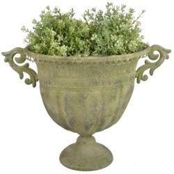 45cm Aged Metal Large Green Urn Planter
