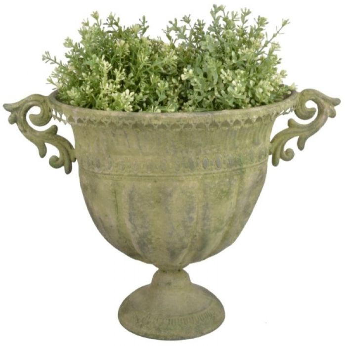 46cm Aged Metal Large Green Urn Oval Planter