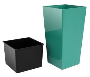 50cm Tall Turquoise Square Planter with Insert