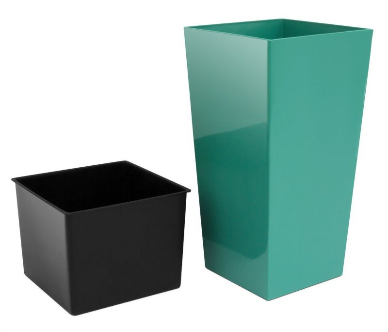 50cm Tall Turquoise Square Planter With Insert 163 14 99