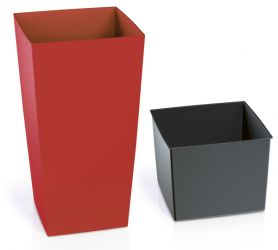 50cm Tall Red Square Planter with Insert