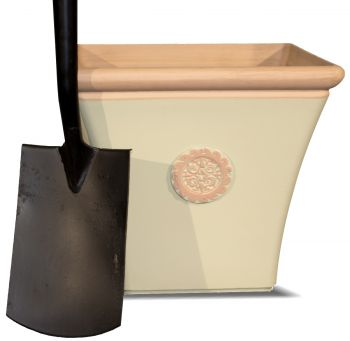 Tuscan Flared Square Planter in Cream with Terracotta - H38cm x W44cm