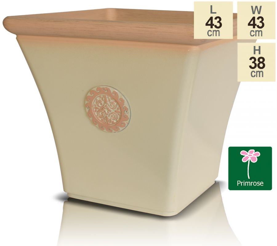 44cm Tuscan Flared Square Planter in Light Pistachio with Terracotta