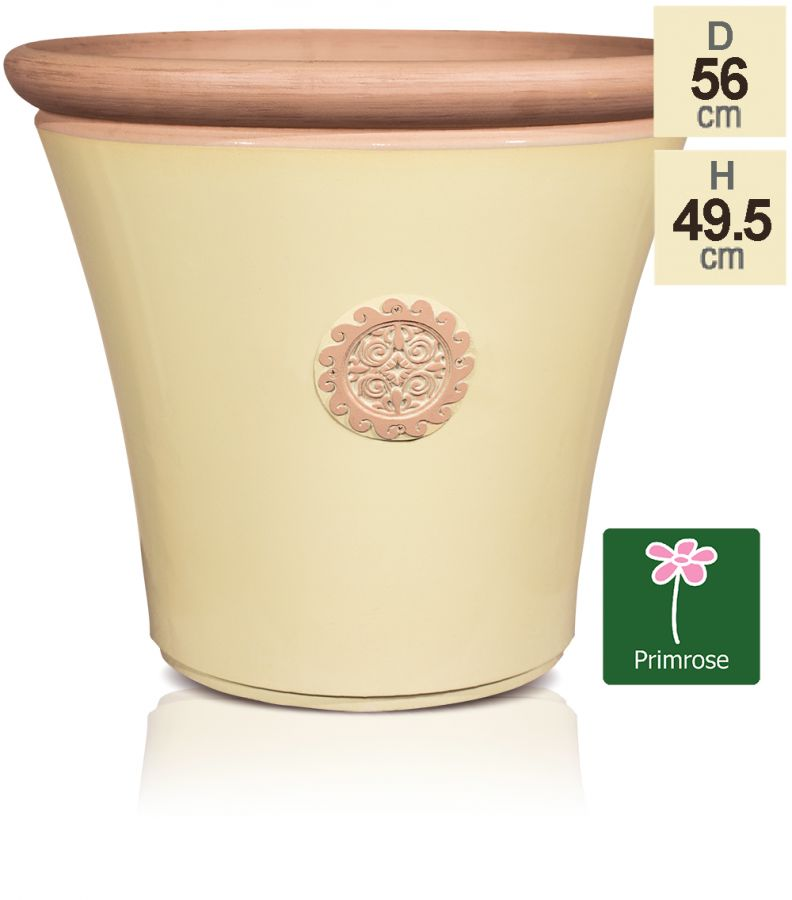 Tuscan Round Planter in Cream with Terracotta - H49.5cm x Dia56cm