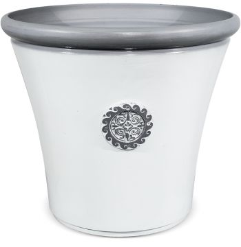 Tuscan Round Planter in White with Grey - H49.5cm x Dia56cm
