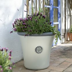 56cm Tuscan Round Planter in White with Grey