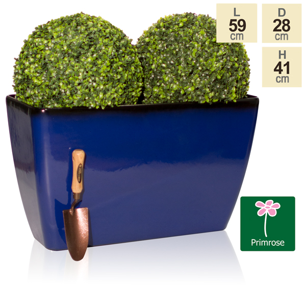 59cm Royal Blue Glaze Effect Trough Planter - By Primrose™
