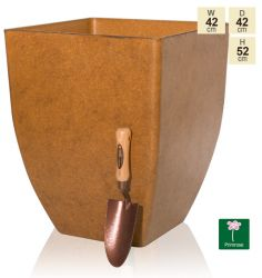52cm Aged Rust Square Planter - By Primrose®