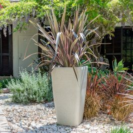 76cm White Stone Effect Flared Square Planter - By Primrose™