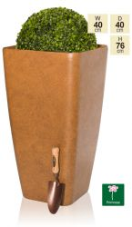 76cm Aged Rust Flared Square Planter - By Primrose®