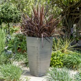 76cm White Cortina Grey Flared Square Planter - By Primrose™