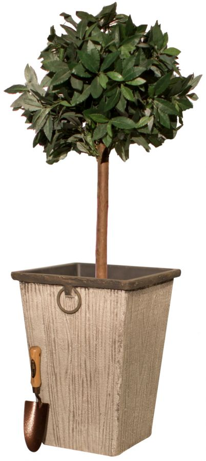 54cm Aged Grey Wood Effect Flared Square Planter By
