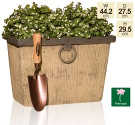 45cm Rustic Wood Effect Trough Planter - By Primrose®