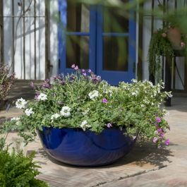 55cm Royal Blue Glaze Effect Bowl Planter - By Primrose™