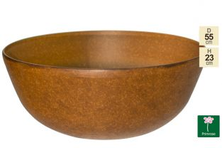 55cm Aged Rust Effect Bowl Planter - By Primrose®