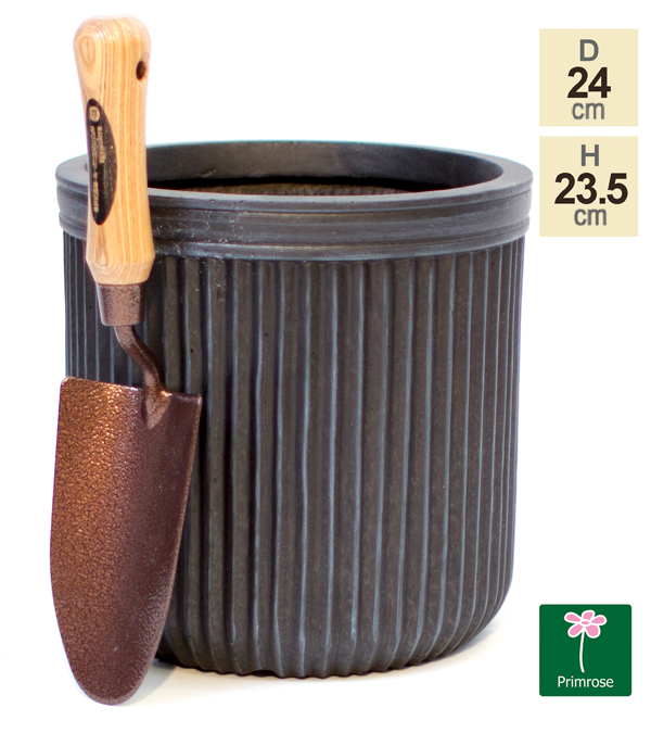 H23.5cm Black Washed Striped Fibrecotta Pot
