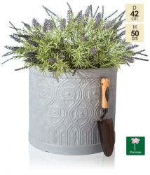 H30cm Art Deco Light Grey Fibrecotta Pot - By Primrose™