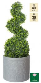 H41cm Art Deco Light Grey Fibrecotta Planter - By Primrose™