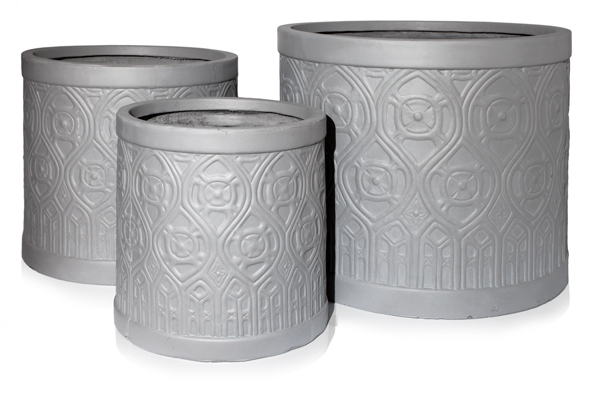 H35cm Art Deco Light Grey Fibrecotta Planter - By Primrose™