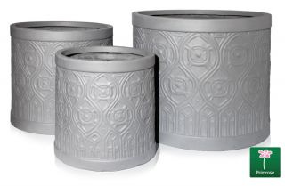 Set of 3 Art Deco Light Grey Fibrecotta Planter - By Primrose™